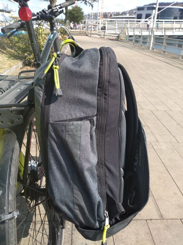 my pannier-backpack on the pannier rack of my bike - a very upright bag.
